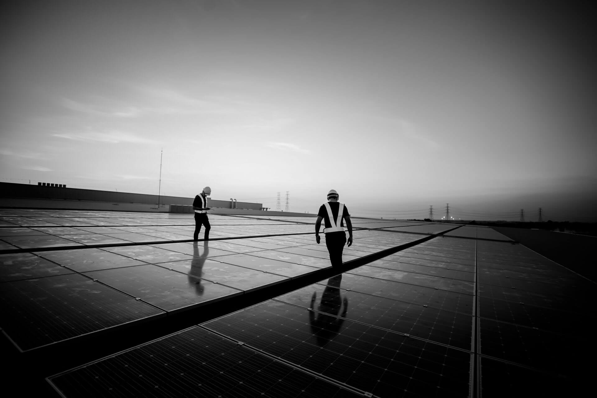 Engineer service check installation solar cell on the roof