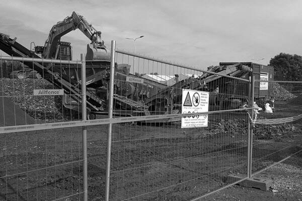 hek voor bouwterrein
