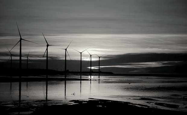 windmolens aan het water