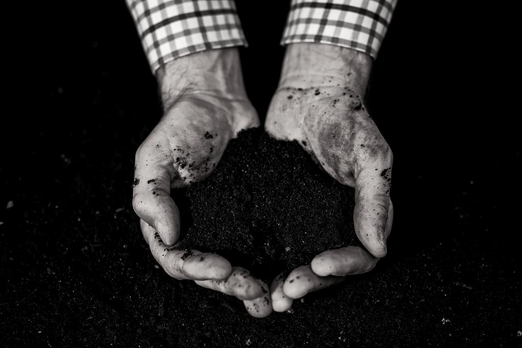 compost in de handenloading=